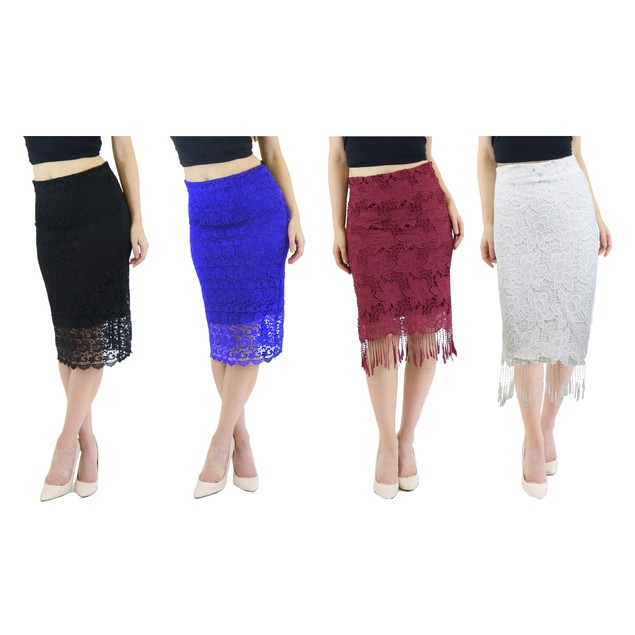 Women's Vintage Knee Length Lace Pencil Skirt (2-Pack, XS-XL)
