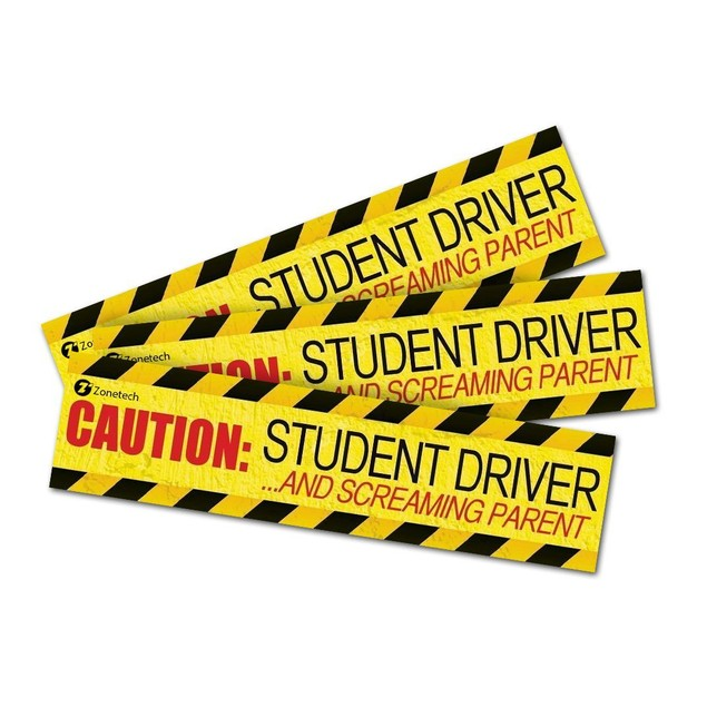 Zone Tech 3x Caution Student Driver Screaming Parent Magnets Bumper Decal