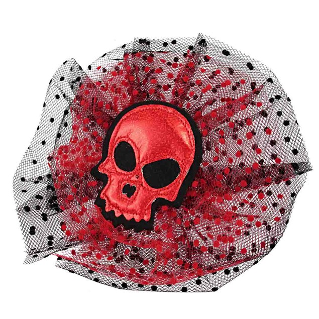 Gothic Red Glitter Skull Tulle Headpiece W/ Black Womens Costume Headwear