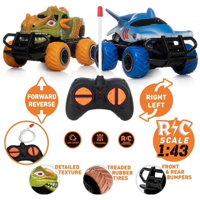 2-Pack Toy Dinosaur RC Cars w/ 2 Controllers