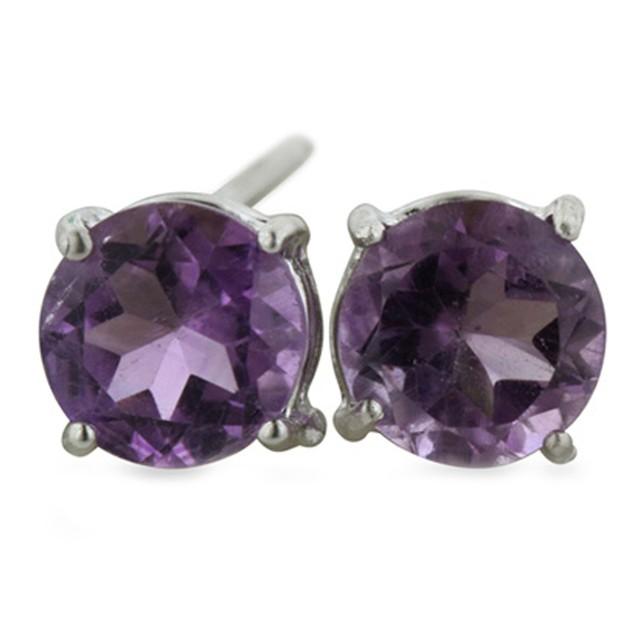 2ct Round Purple Amethyst Earrings