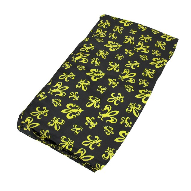 Black Satin Scarf With Gold Fleur De Lis Designs Womens Fashion Scarves