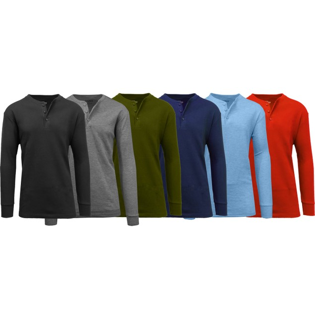 Galaxy by Harvic Men's Waffle-Knit Thermal Henley Tees