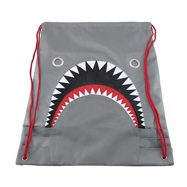 Mean Gray Shark Nylon Drawstring Backpack Boys Backpacks