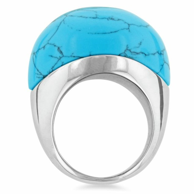 Oversized Turquoise Dome Ring In Smooth Silver Tone Setting