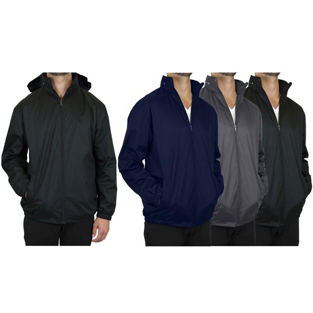Fleece-Lined Hooded Windbreaker Men's Jacket