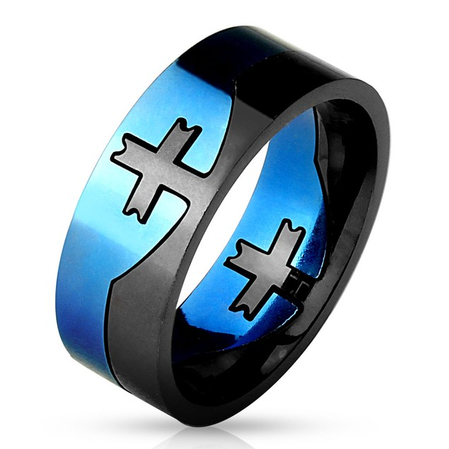 Cross Center Blue and Black 2-Tone Purzle Ring 316L Stainless Steel