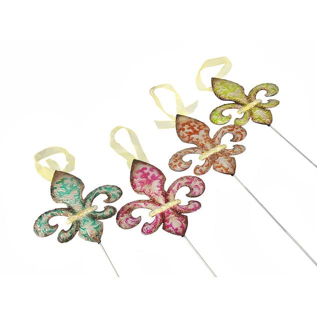Set Of 4 Colorful Metal Fleur De Lis Garden Stakes Garden Stakes