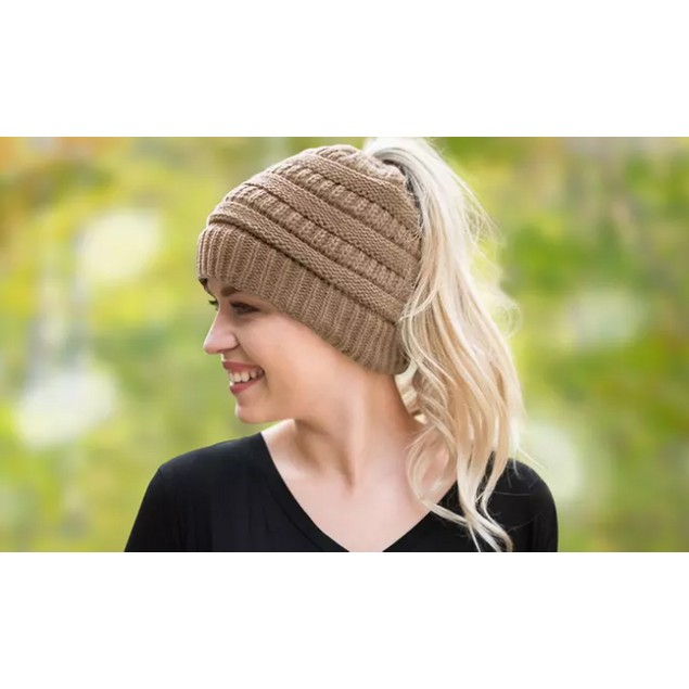 Soft-Knit Ponytail Women's Hat