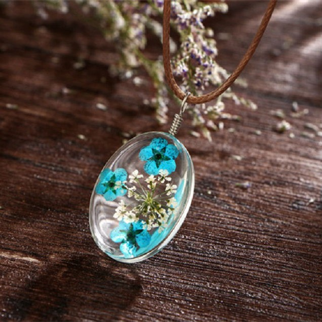 Dried Flower Drop Necklace - 3 Colors