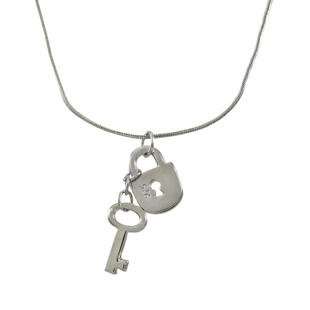 Silvertone Snake Chain With Lock And Key Charms Mens Pendant Necklaces