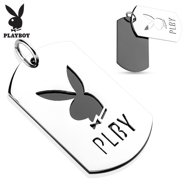 Two Tone Cut Out Stainless Steel Playboy Logo Pendant