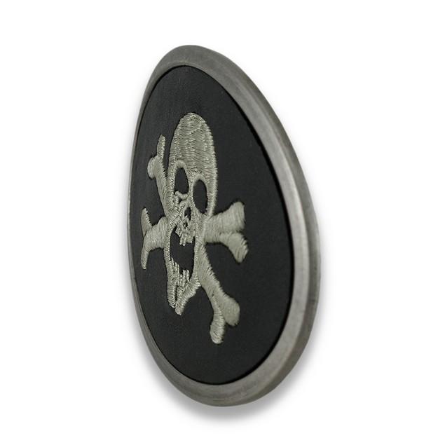 Black Leather Embroidered Skull And Crossbones Mens Belt Buckles