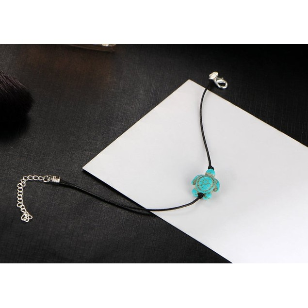 Genuine Leather & Turquoise Turtle Anklet