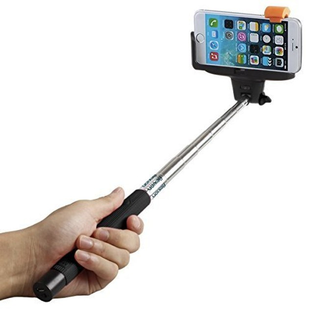 Extendable Wireless Selfie Stick with built-in Bluetooth Remote Shutter