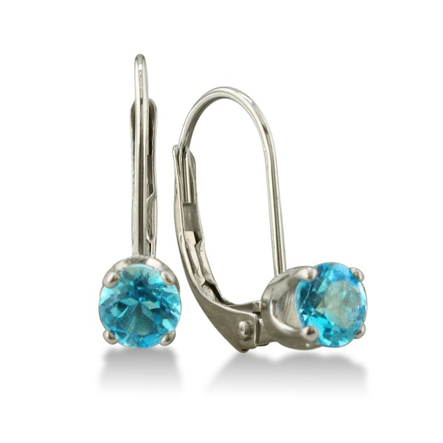 1/2ct Solitaire Blue Topaz Leverback Earrings, 14k White Gold