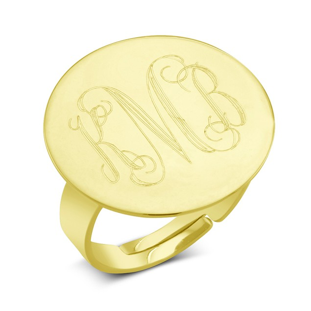 Personalized Gold Plated Round Signet Ring - 3 Colors