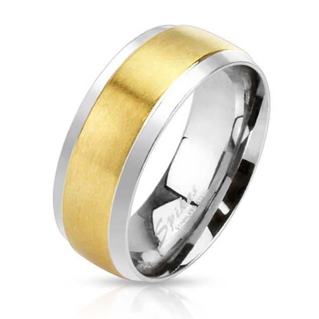Center Gold IP Step Edge 2-Tone Band Stainless Steel Ring