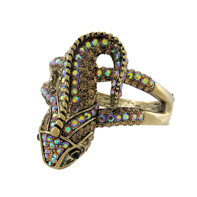 Goldtone Color Changing Rhinestone Lizard Bangle Womens Bangle Bracelets