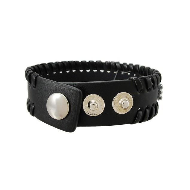 Black Vinyl Clear Rhinestone Accented Bracelet Womens Cuff Bracelets