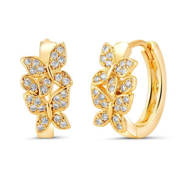18kt Yellow Butterfly Goldtone Cubic zirconia  Huggie Earrings