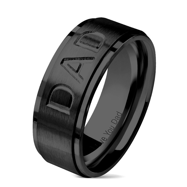"""""""Dad"""" Stainless Steel Comfort Fit Mens Band"""
