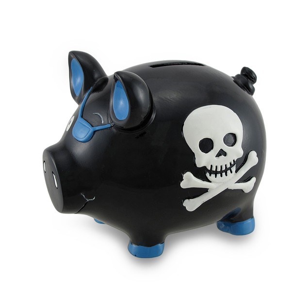 Black And Blue Pirate Pig W/Skull And Crossbones Toy Banks