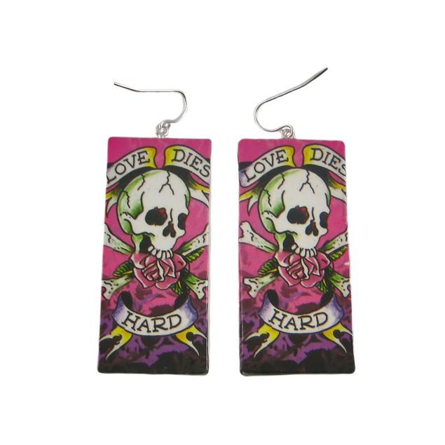 Love Dies Hard Paper Artwork Dangle Earrings Womens Dangle Earrings