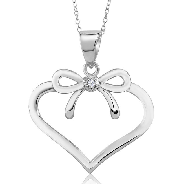 .20 Ct Diamond Bow Heart Necklace