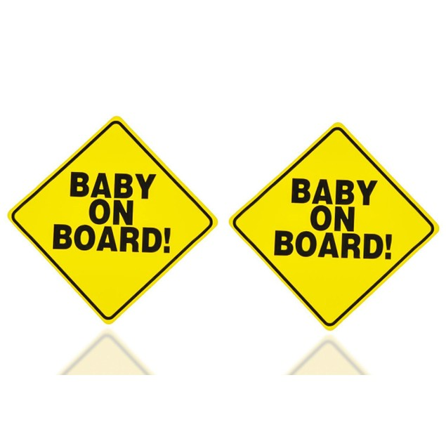 """Zone Tech 2x Convenient Reusable """"Baby on Board"""" Vehicle Car Sticker"""