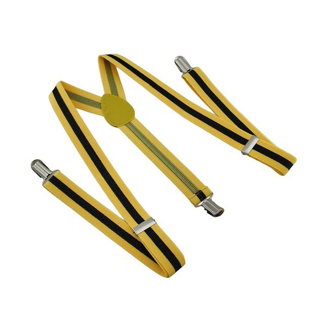Bright Yellow / Black Striped Adjustable Mens Suspenders