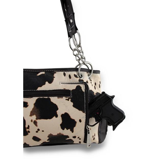 Brown And White Cow Print Rhinestone Skull Vinyl Womens Shoulder Handbags