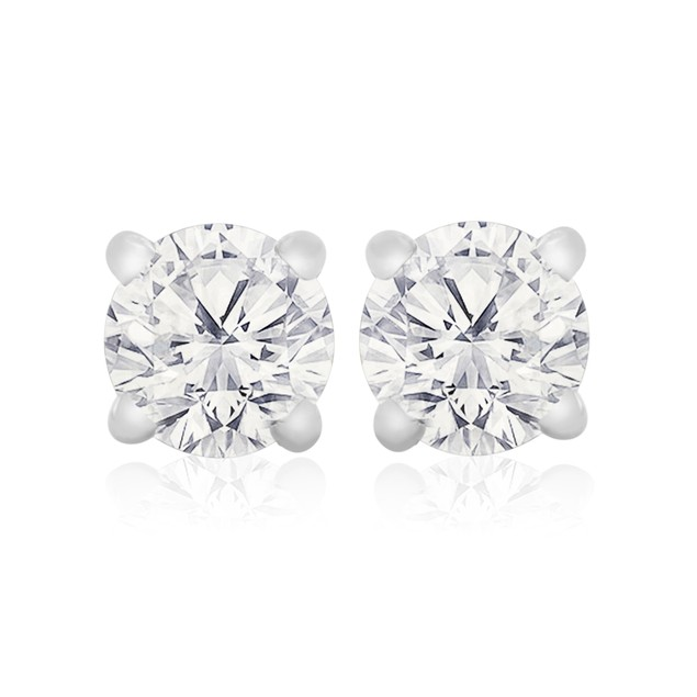 10k White Gold 1/4 Carat Genuine Diamond Stud Earrings