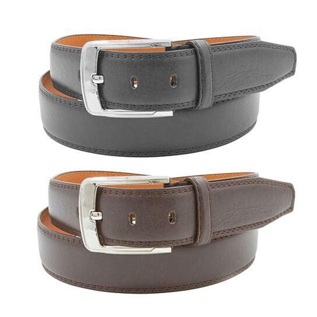 2-Pack Mens Black And Brown Genuine Leather Belts