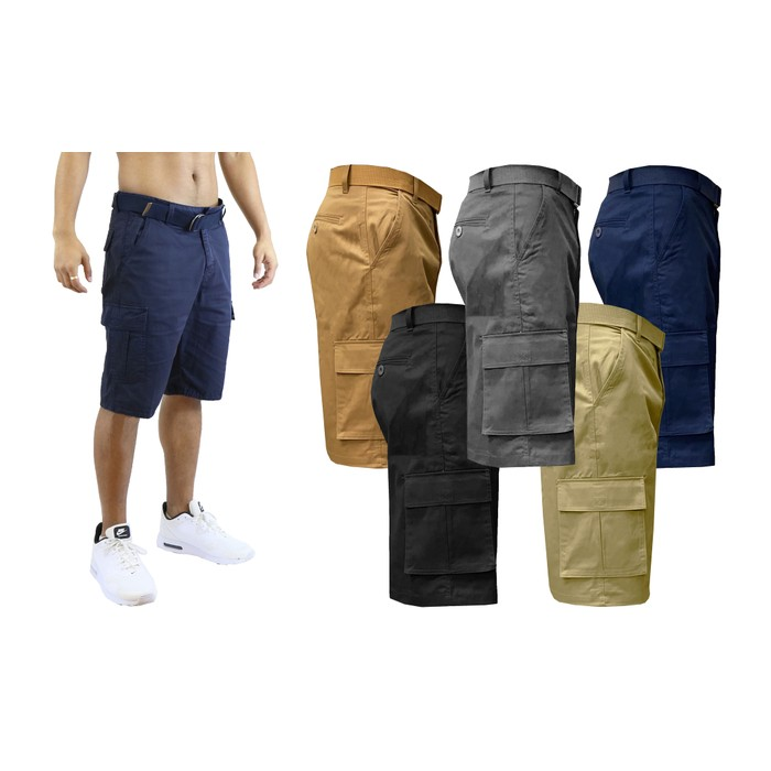 2-Pack Men's Stretch Cotton Belted Cargo Shorts