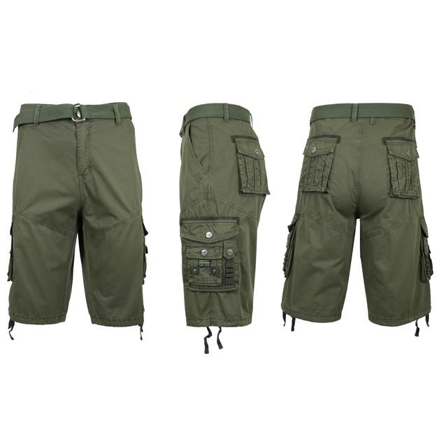 Men's Distressed Vintage Belted Cargo Utility Shorts- Multiple Pack Sizes