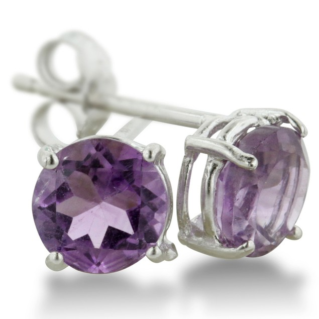 2ct Round Purple Amethyst Earrings