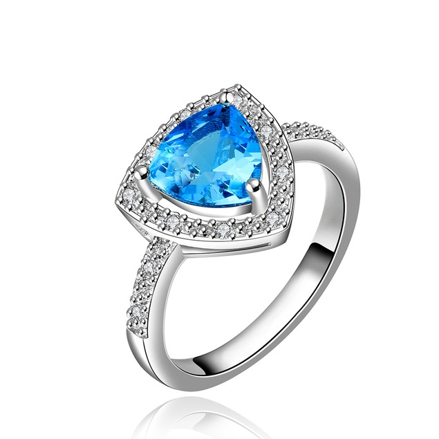 Imitation Sapphire Triangular Jewels Covering Ring