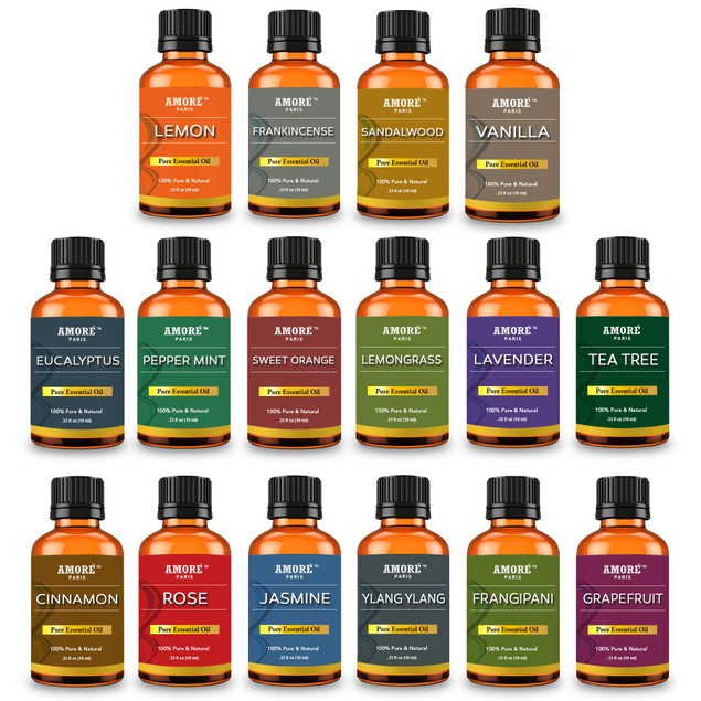16-Piece Amore Paris Aromatherapy Therapeutic High Grade Essential Oils