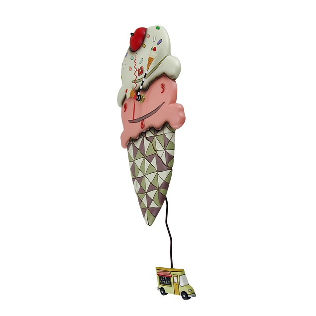 Whimsical Scoops Ice Cream Cone Pendulum Wall Wall Clocks