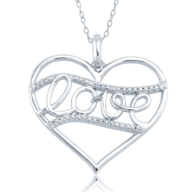 1/10cttw Diamond Accent Love Straight Heart Necklace