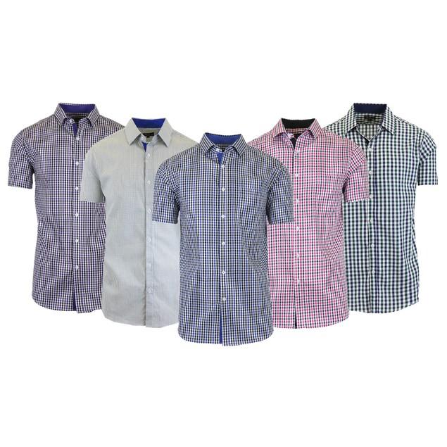 Men's Short Sleeve Slim-Fit Casual Checkered & Gingham Dress Shirts (M-2XL)