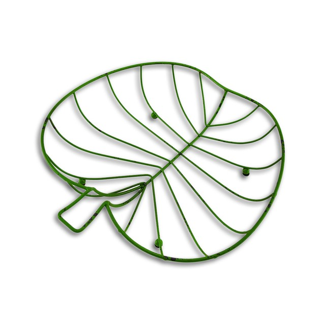 Metal Wire Distressed Finish Green Apple Shaped Decorative Boxes