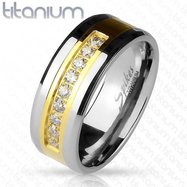 Lined CZ Channel Set on Gold Center Solid Titanium Band Rings