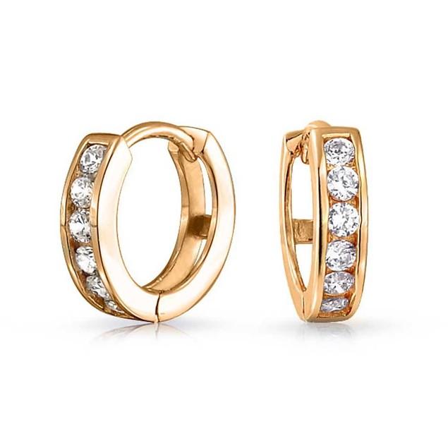 10k Yellow Gold & CZ Huggie Earring