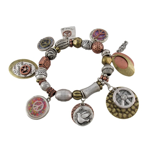 Peace Charm Stretch Bracelet Tri-Tone Womens Charm Bracelets
