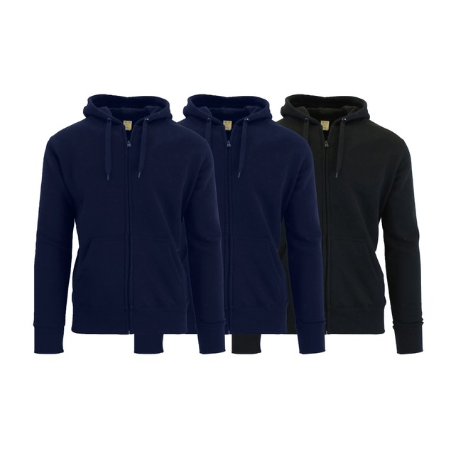 3-Pack Men's Fleece-Lined Zip Sweater Hoodie