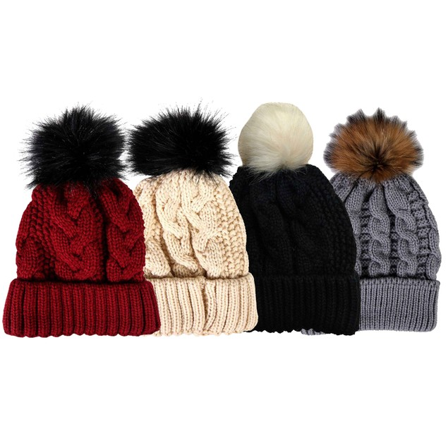 4-Pack Unisex Winter Knit Beanie Hat With Pom Pom