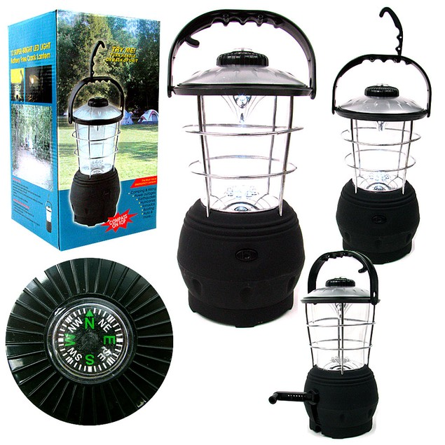 Crank Dynamo Lantern- with Built In Compass - No Batteries Required