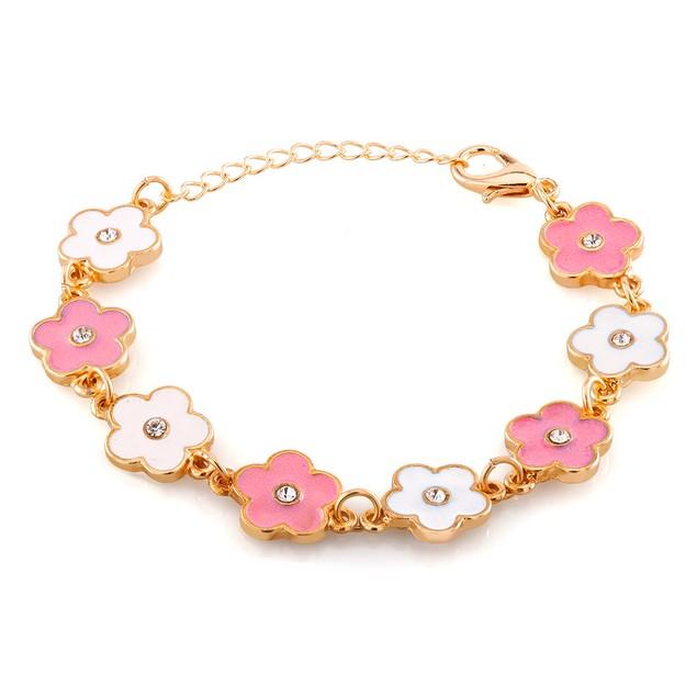 Kids Gold Plated Pink And White Flower Enamel Bracelet